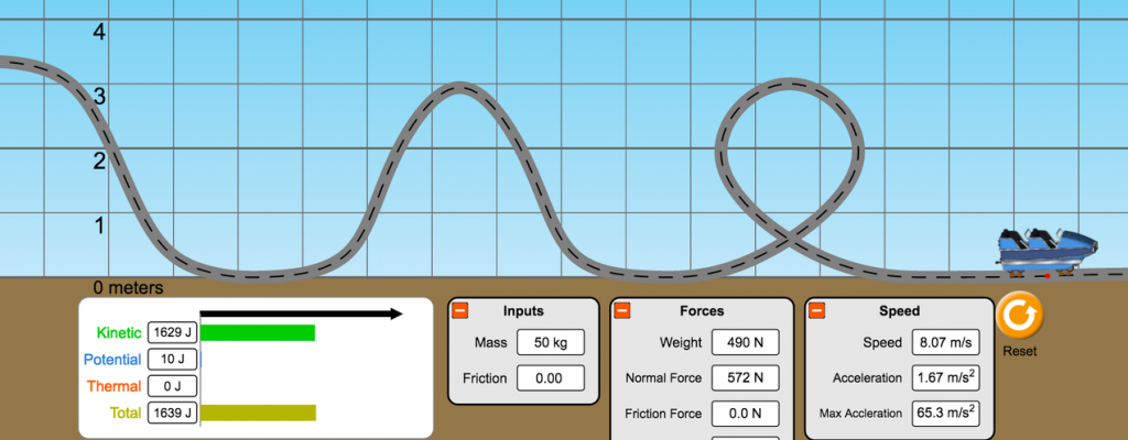 Roller coaster on a track with variables like mass.