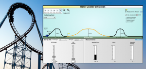 Roller coaster simulation with varying heights of hills.